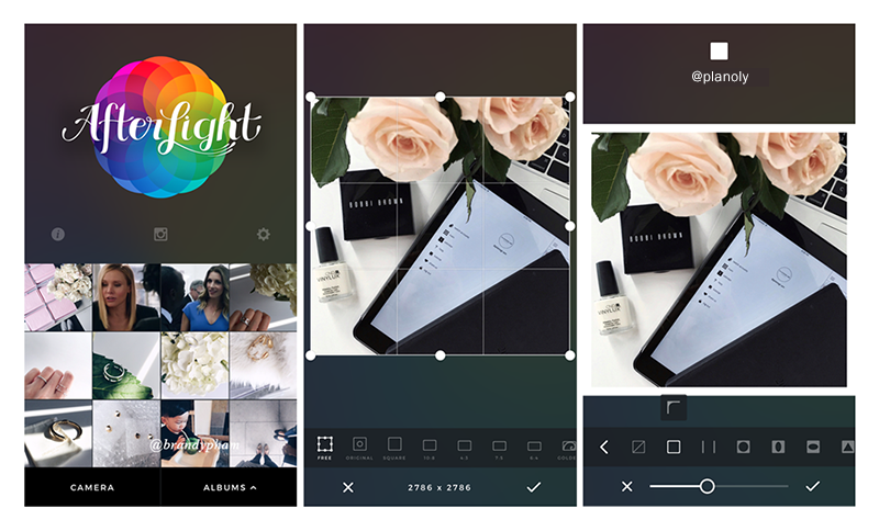 photo editing app Afterlight for Instagram Planoly