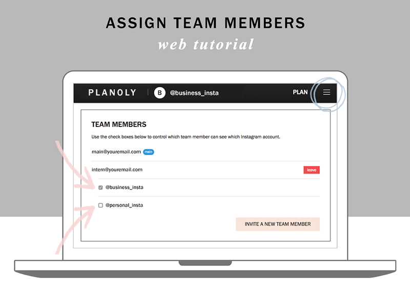 Planoly tutorial how to assign team members for Instagram accounts