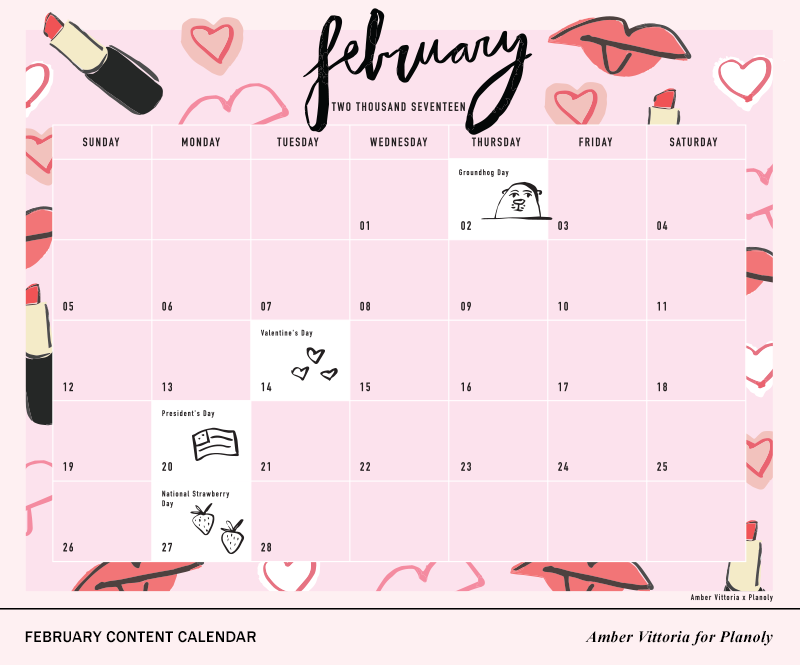 Downloadable - February Content Calendar Planoly 2