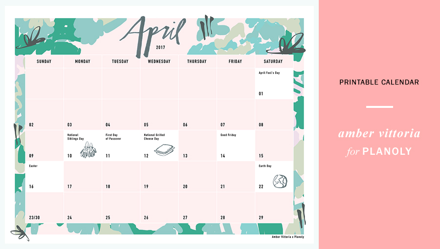 April 2017 Content Calendar Planoly Printable