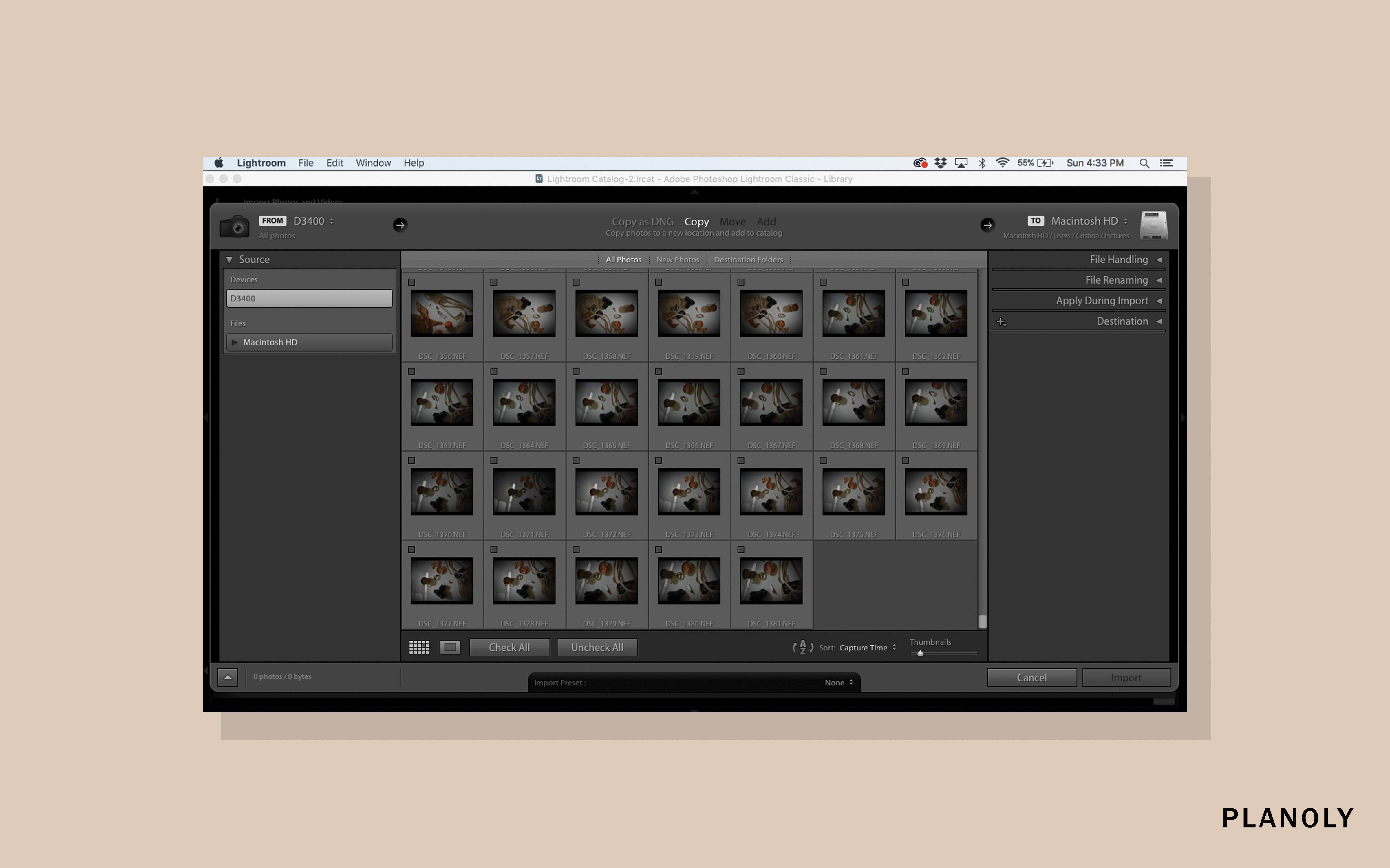 How to use lightroom as a beginner planoly select the images you would like to import to lightroom any images that you do not want to import should not have a check mark near them ccuart Images