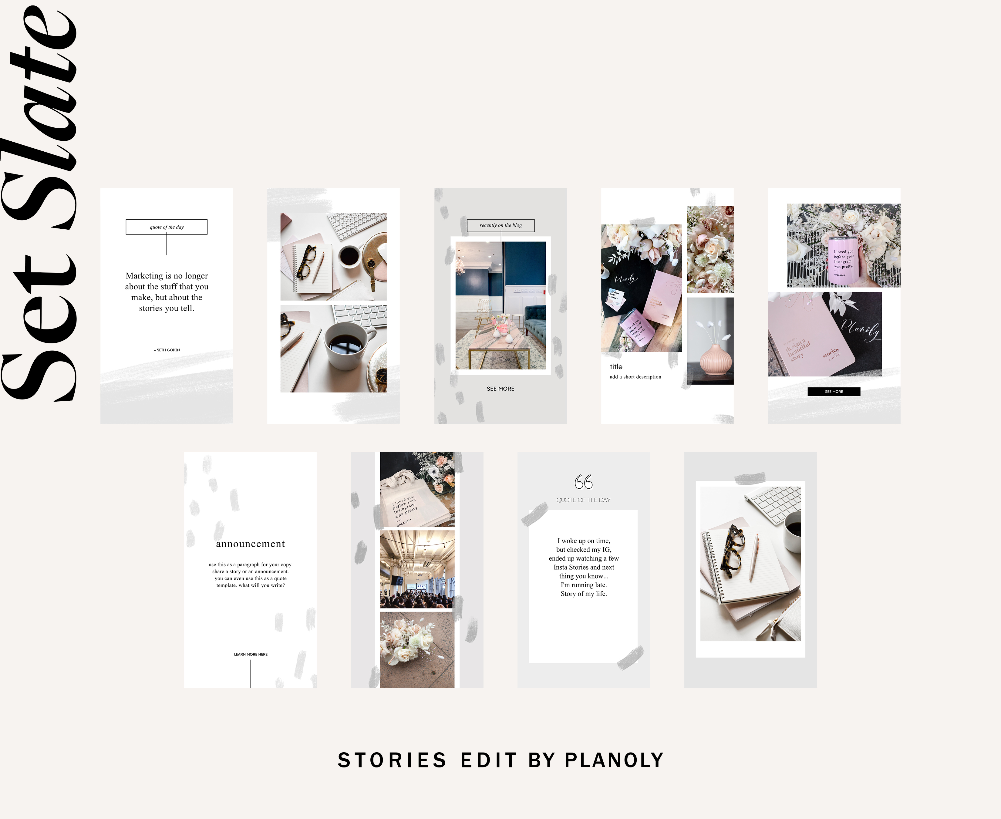 Planoly - Blog Post -StoriesEdit- Template Set Slate Feature- Image